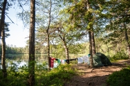 Táboření u jezera, první praní